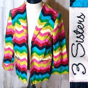 3 Sisters Colorful Chevron Blazer